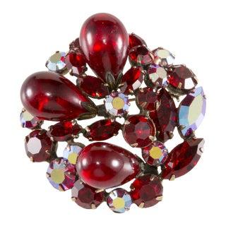 Regency Red Art Glass Rhinestone Brooch
