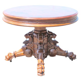 Victorian Carved Walnut Center Table