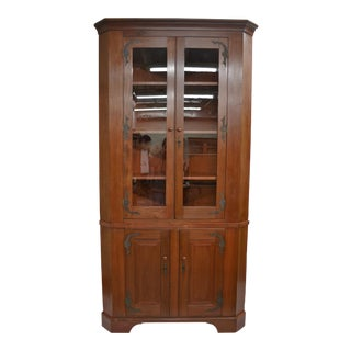 Massive Cherrywood Glazed Corner Cupboard