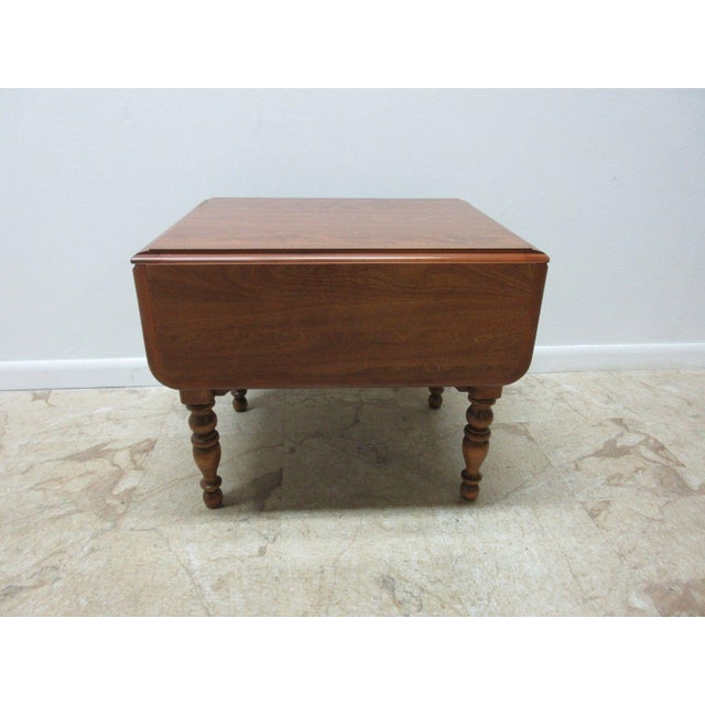 Ethan Allen Heirloom Formica Top Drop Leaf Nutmeg End Table - Image 4 of 11