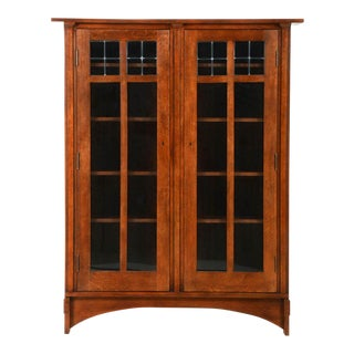 Stickley Oak Bookcase With Leaded Glass