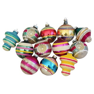 Mid-Century 1960s Retro Christmas Ornaments w/Box - Set of 12