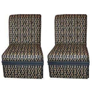 Mid-Century Custom Fabric Slipper Chairs - a Pair