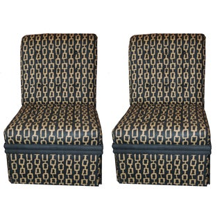 Mid-Century Custom Fabric Slipper Chairs - a Pair