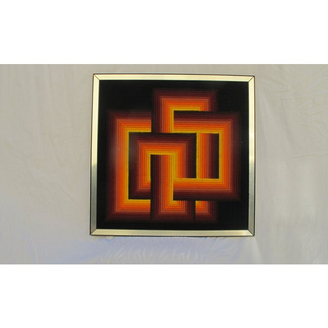 Image of 1970s Vaserely Style Needle Point