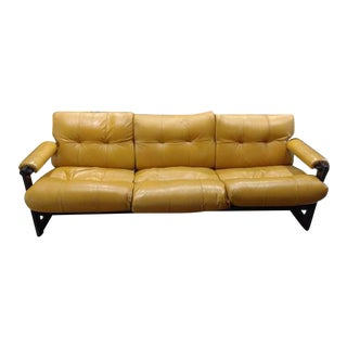 Percival Lafer Mid-Century Leather & Rosewood Sofa
