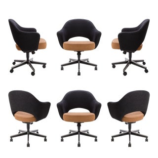 Knoll Two-Tone Boucle Executive Arm Chairs - S/6