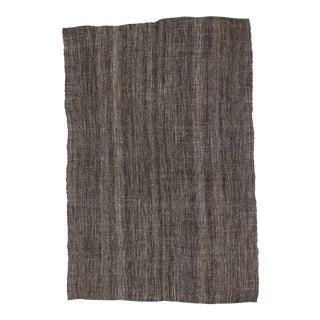Vintage Dark Gray Modern Kilim Rug - 5′9″ × 8′9″