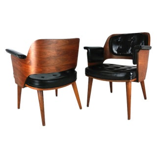 Mid-Century Danish Leather & Walnut Lounge Chairs - A Pair