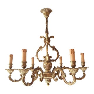 French Louis XV Style Bronze 6-Arm Chandelier