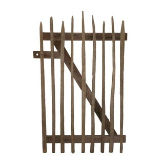 Primitive Garden Gate of Hand-Hewn Stakes