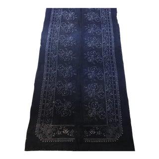 Antique Asian Ink Indigo Cotton Batik Butterfly Textile