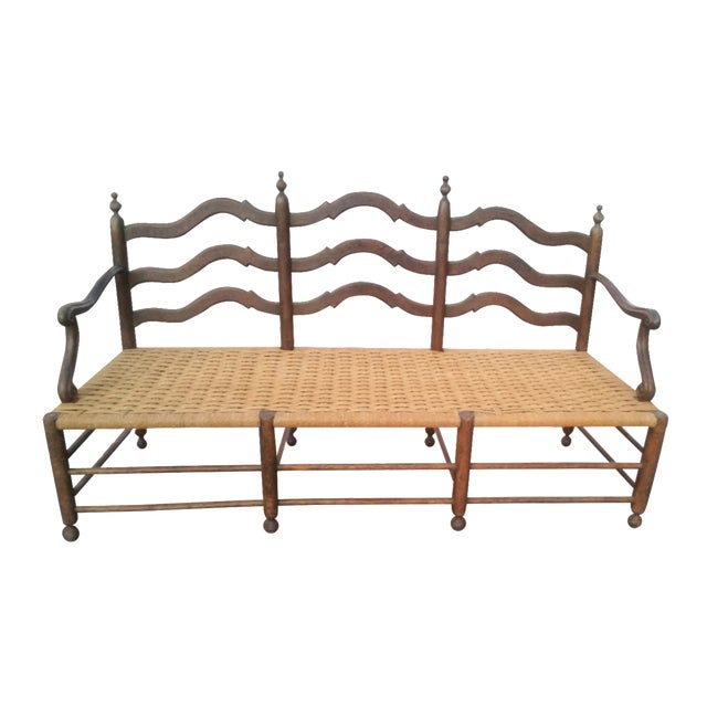 Antique Victorian Wooden Bench - Image 1 of 3