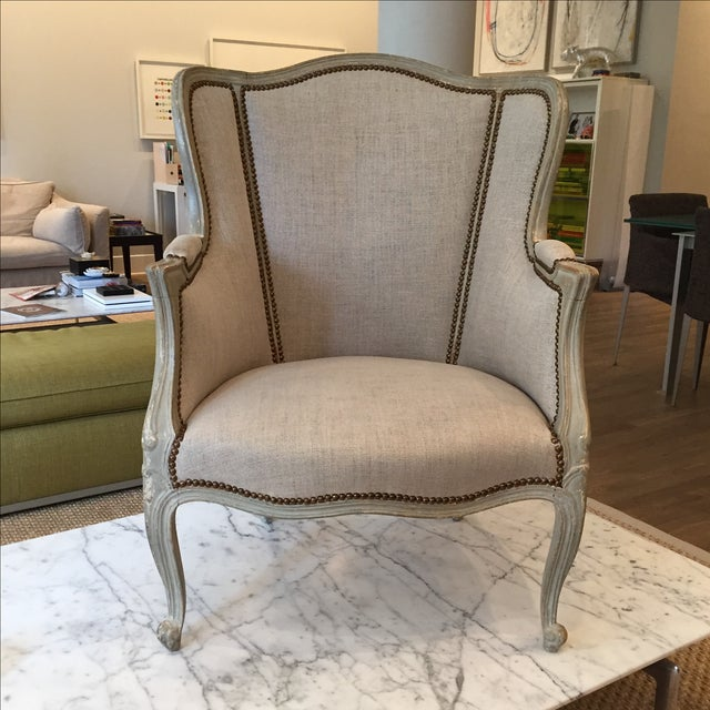 Vintage Belgian Linen Wingback Chairs - A Pair - Image 2 of 7