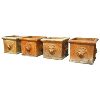 Continental Style Sandstone Planters with Lions Head Motif