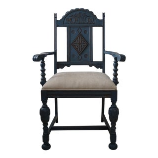 1910 Blue Painted Oak Chair