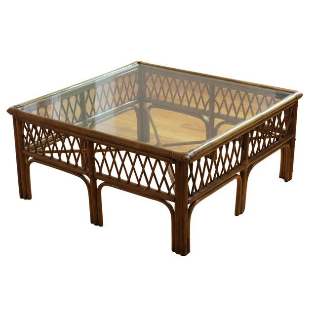 Bamboo, Wood and Glass Coffee Table - Image 1 of 5