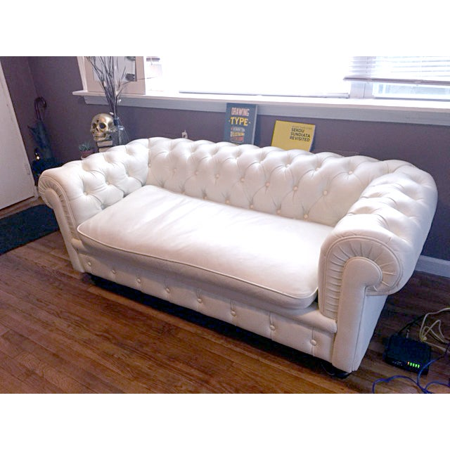 White Faux Leather Tufted Loveseat & Ottoman - Image 2 of 5