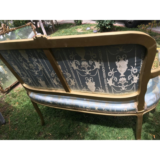 Gold Gilt Italian Louis XVI Settee & Chairs - Set of 3 - Image 7 of 9