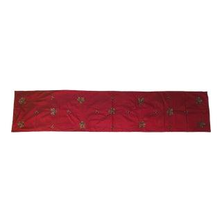 Red Silk Embellished Table Runner