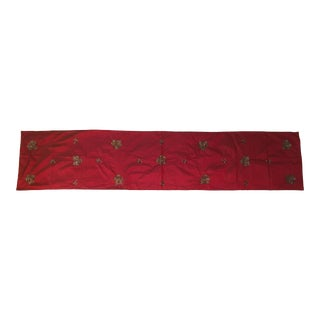 Red Silk Embellished Table Runner