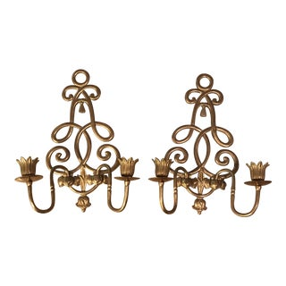 Brass Wall Candle Holders - A Pair