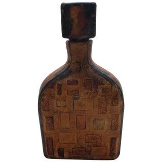 Vintage Italian Leather Wrapped Bottle