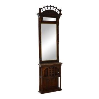 Antique Victorian Walnut Pier Hall Mirror w/ Marble Shelf