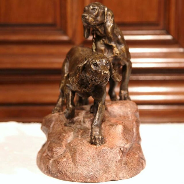 19th Century French Patinated Spelter Hunting Dog Sculpture - Image 7 of 9