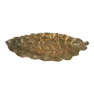 Vintage Brass Tobacco Leaf Tray