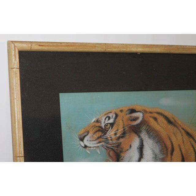 Amazing Pastel Art Tiger Painting W/Bamboo Frame - Image 4 of 8