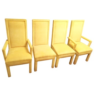 Yellow Faux Mohair Upholstered Parsons Dining Chairs- Set of 4