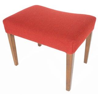 Danish Modern Crimson Wool Ottoman