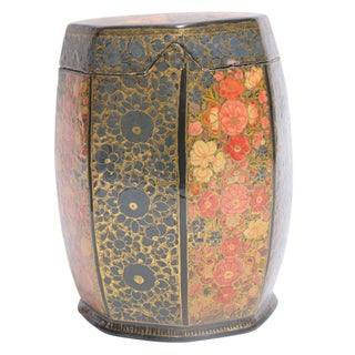 Floral Motif Hand Painted Tea Canister