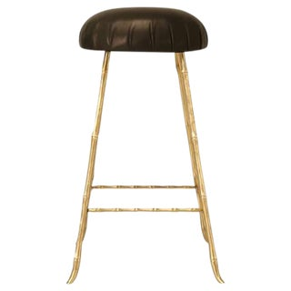 Jansen Style Polished Solid Brass & Faux Bamboo Design Counter Stool