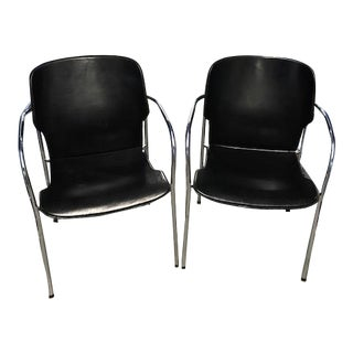 Kron Leather & Steel Armchairs - A Pair