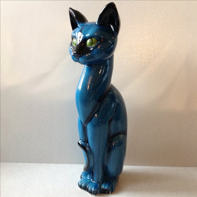 Mid-Century Modern Blue Ceramic Pottery Cat - Image 2 of 11