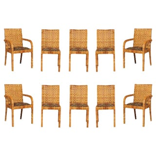 Superb Set of Ten Rattan Wrapped Dining Chairs in the Style of Billy Baldwin
