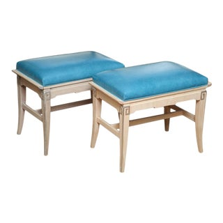 A Pair of Turquoise Leather Regency Pagoda Design Stools