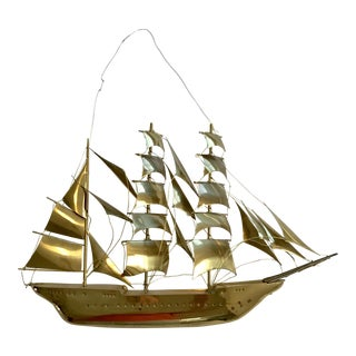 Vintage Brass Ship Wall Sculpture