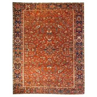 Early 20th Century Persian Heriz Red Floral Rug - 8′3″ × 10′10″
