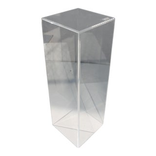 Vintage Clear Lucite Cube Pedestal