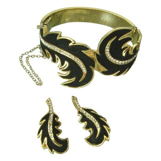 1960s Henry a la Pensee Bracelet & Earrings - Set