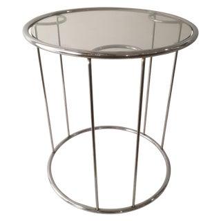 Chromed Steel & Glass Side Table