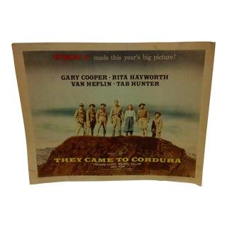 "Vintage Movie Poster ""They Came to Cordura"" Gary Cooper Rita Hayworth & Tab Hunter - 1959"