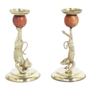 Arthur Court Cat and Monkey Candlesticks