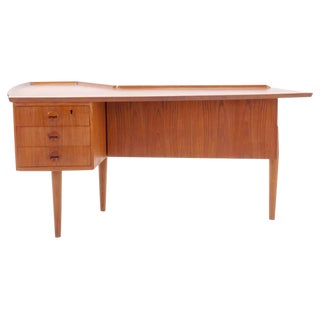 Arne Vodder Teak Desk with Built in Bar