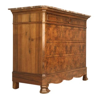 C.1860 Louis Philippe Book-Matched Burled Walnut Commode