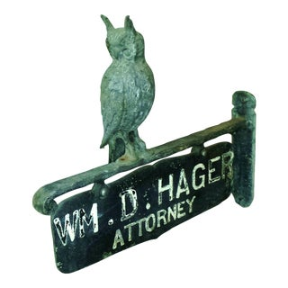 Antique Owl Attorney Sign Business Advertising