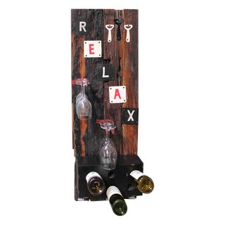 'Relax' Rustic Wooden Mini Bar & Wine Rack
